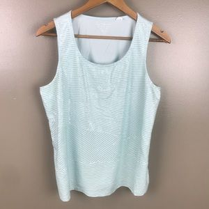 CHICOS Sequined Front Aqua Tank Top